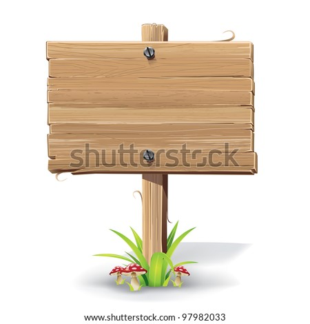 Wooden sign on a grass with mushrooms. vector illustration