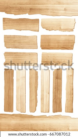 Wooden sign on white background, vector illustrations