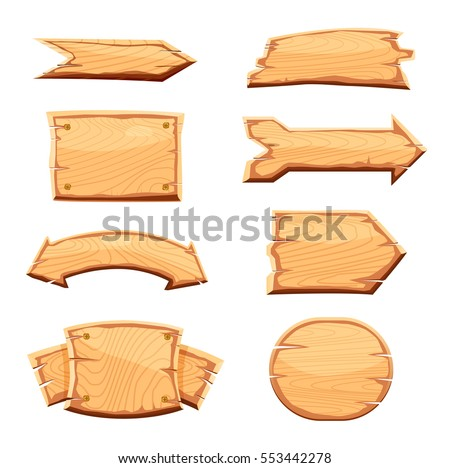Wooden sign set isolated on white background vector illustration. Round, square and arrow shapes blank wooden sign board for message. Cartoon style wooden signpost collection