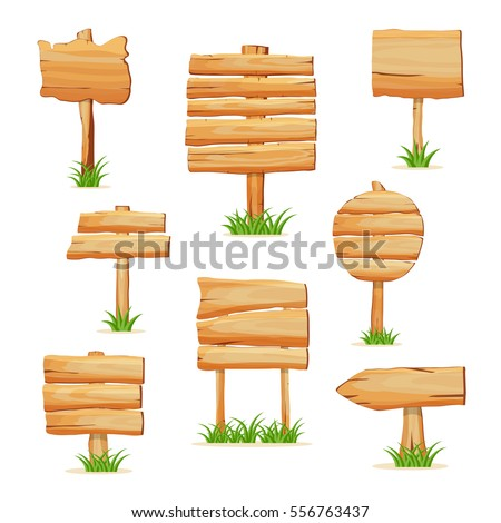 Wooden sign standing in grass set isolated on white background vector illustration. Round, square and arrow shapes blank wooden sign board for message. Cartoon style wooden signpost collection