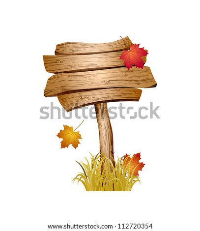 wooden sign with autumn grass
