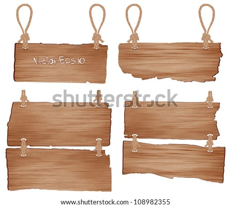 Wooden sign with rope hanging. vector illustration - stock vector