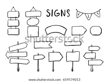 Wooden signages, road signs, direction signs, flags, arrows doodle icons set Hand drawn vector illustration