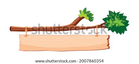 Wooden signboard hanging on tree branch. Wooden signboard or hanging signboard with rope. Blank or empty, clear isolated wooden planks or signboards. Flat vector illustration. Stockfoto ©