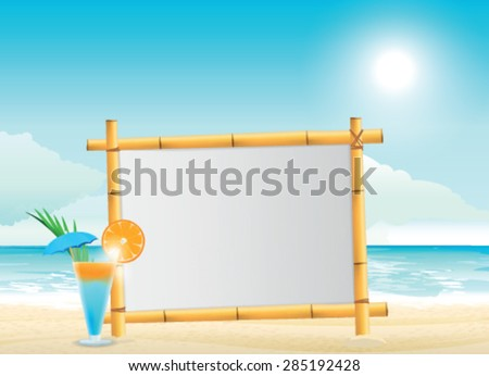 wooden signboard on tropical