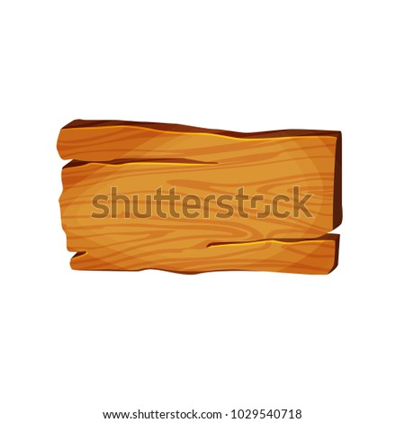Wooden signboard, plaque. Button for games or site. Wooden pointer for decoration in vintage style. Vector illustration cartoon stye