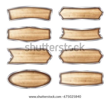 Wooden signboard vector illustration