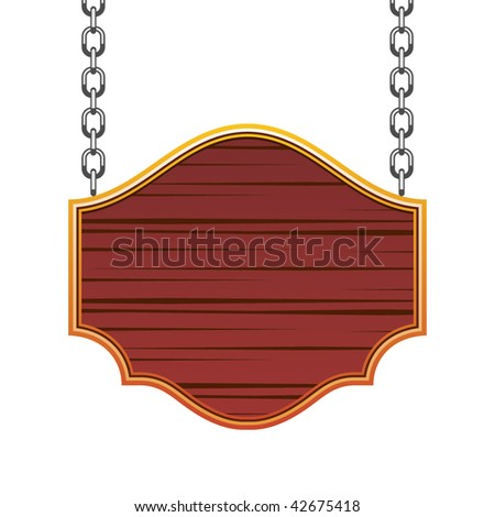 wooden signboard with chain