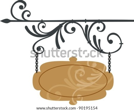 wooden signboard with forged elements, vector illustration