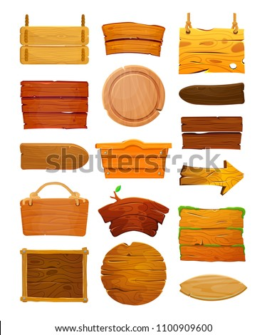 Wooden signboards or wood plank for banners or messages hanging on ropes. Isolated vector clip art with rustic signboard, place for advertising. Blank or empty, clear wooden planks or signboard