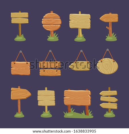 wooden signboards. outdoor directional arrow from wood texture empty information signs for road travellers. vector set