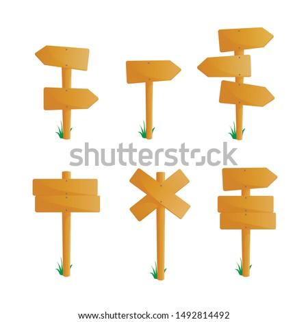 Wooden signboards set vector illustration.