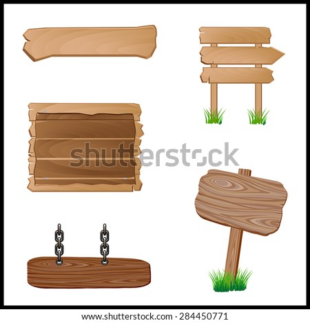 Wooden Signboards-Vector