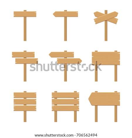 Wooden Signboards - Vector Elements