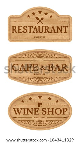 wooden signboards with text...