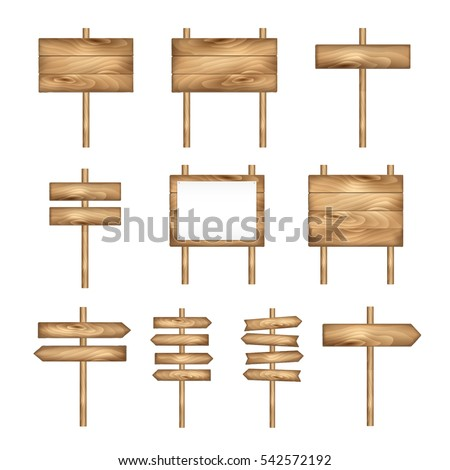 Wooden signboards, wood arrow sign set. Empty signboard banner collection isolated on white background. Wooden sign boards and arrows. Vector signs.