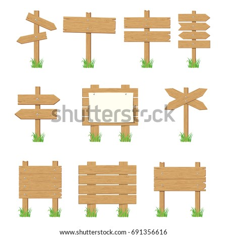 Wooden signboards, wood arrow sign set. Empty signboard banner collection isolated on white background. Vector illustration in flat style