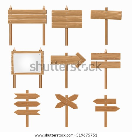 Wooden signboards, wood arrow sign vector set