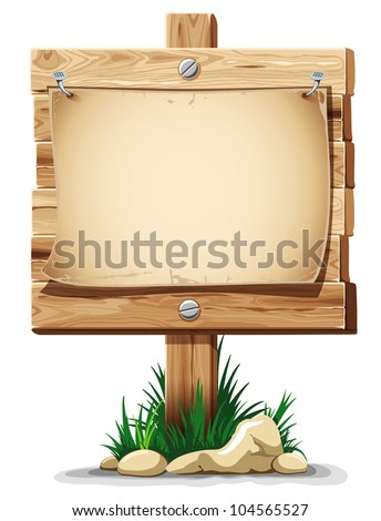 Wooden signpost with nailed paper sheet, grass and stones. There is space for your text. Vector illustration.