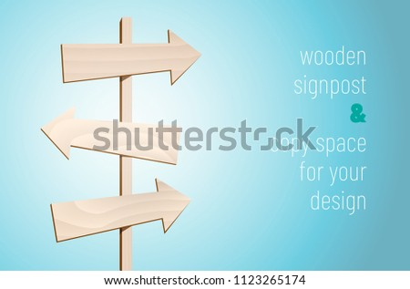 Wooden signpost with three blank arrows on blue background with place for your text - vector illustration #1123265174