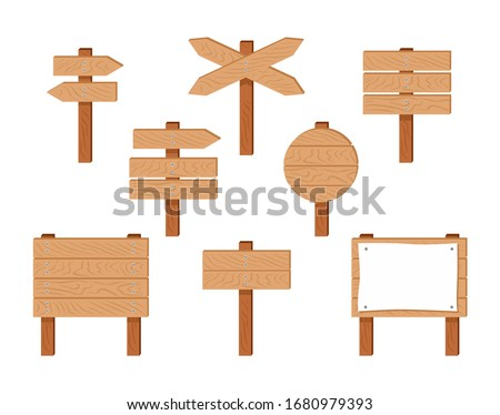 Wooden signs and pointers set. Vector cartoon wooden sign posts, signboard with sheet of white paper, banners and arrow isolated on white. Collection of design elements. Simple flat illustration.