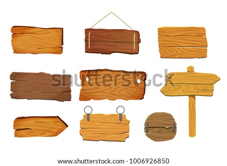 Wooden signs boards set with different shapes, vector elements.