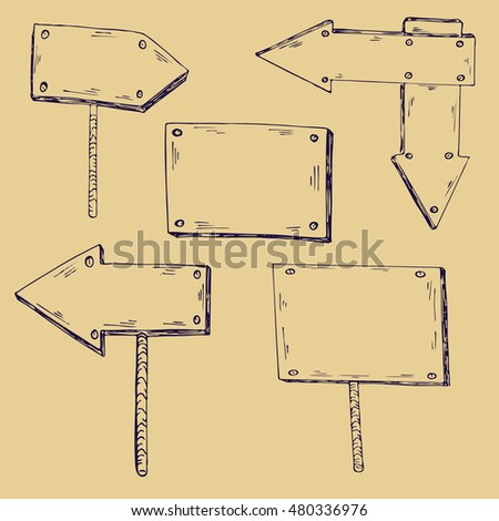 Wooden signs. Ink sketch. Hand drawn vector illustration. #480336976