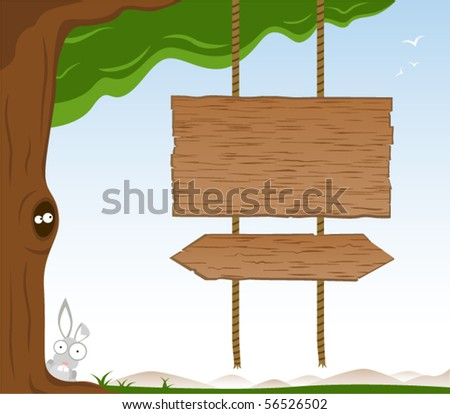 Wooden Signs On Tree - Vector