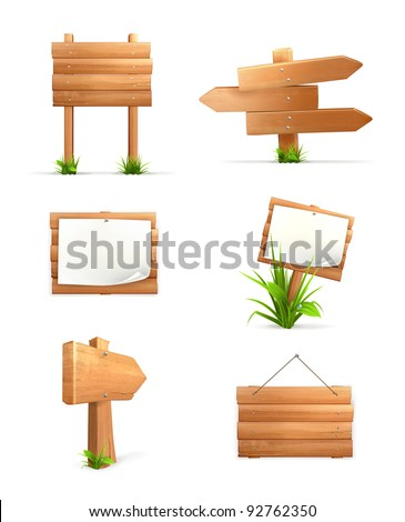Wooden signs set, 10eps - stock vector