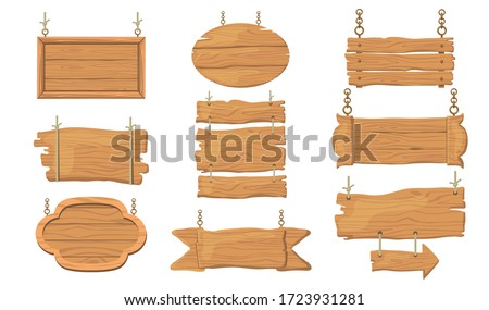 Wooden signs set. Rough rustic boards and planks, signboards hanging on ropes, bar and saloon banner templates. Can be used for old guideposts, vintage restaurant signposts, advertising design concept