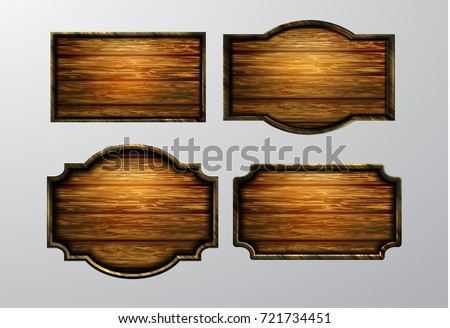 wooden signs  vector icon set