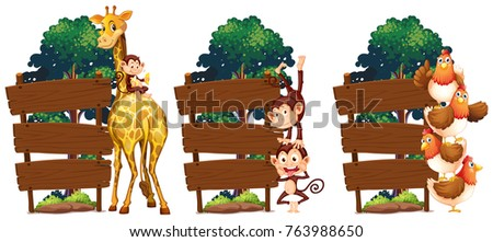 Wooden signs with giraffe and monkeys illustration