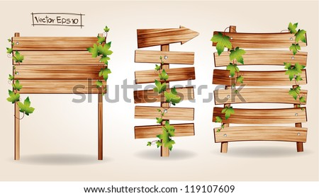 Wooden signs with green leaves decorative elements, Vector illustration