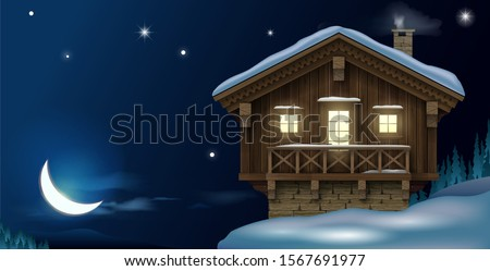 Wooden small house or Chalet in the winter mountains . The traditional Alpine hut . Ski resort hotel. Vector graphics. Night postcard