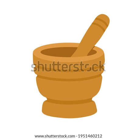 Wooden spice mortar bowl with pestle. Grinder bowl. Kitchen tool. Simple vector hand-drawn illustration, isolated on white background. Stockfoto ©