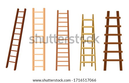 Wooden Stairs or Step Ladders for Domestic and Construction Needs Vector Set Stock photo ©
