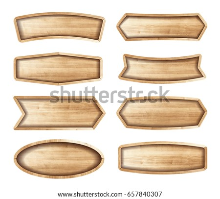 Wooden stickers label collection. Set of various shapes wooden sign boards for sale,price and discount stickers, banners, badges. Vector illustration