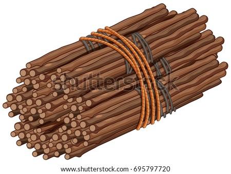 Wooden sticks in big bundle illustration