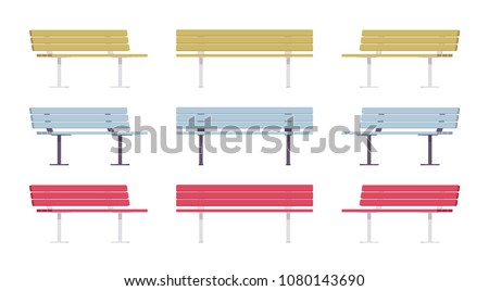 Wooden street bench set. Comfortable long seat for several people, state public park or garden relax element. Landscape architecture and urban design concept. Vector flat style cartoon illustration