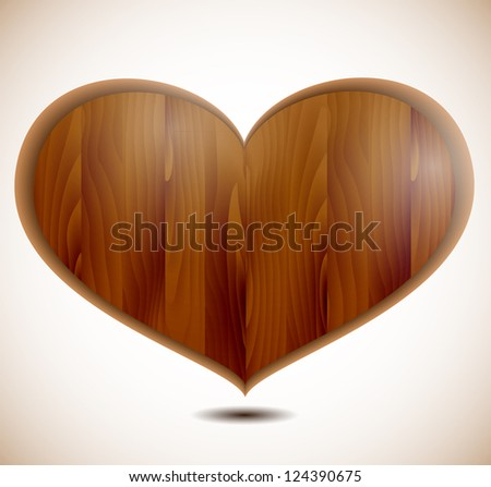 Wooden structure in the form of heart.Valentine's Day.Vector