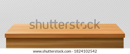 Wooden table foreground, tabletop front view, brown rustic countertop of wood surface. Retro dining desk or plank texture isolated on transparent background, realistic 3d vector mock up Stock photo ©