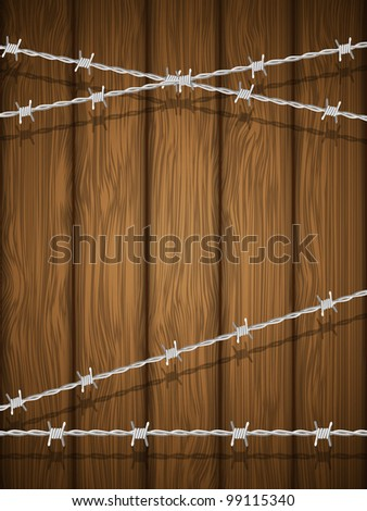 Wooden texture with barbed wire. Vector illustration.