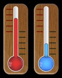 Wooden thermometers on black, vector, 10eps.