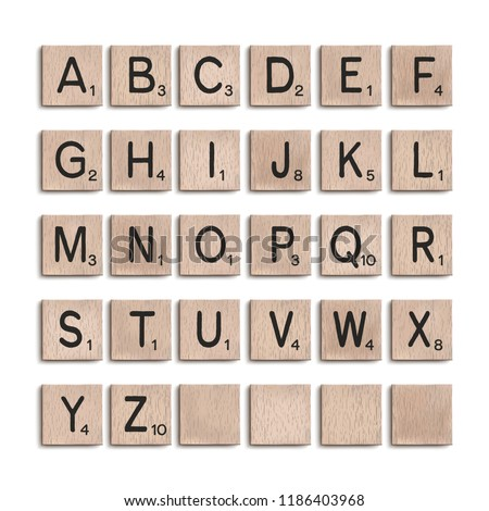 Wooden tiles alphabet 3d realistic letters. Word puzzling board game design elements set. Vector illustration.