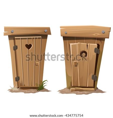 Wooden toilet. Vector.