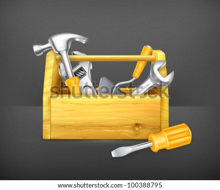 Wooden toolbox, 10eps - stock vector