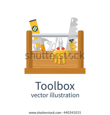 Wooden toolbox isolated. Vector illustration of flat design style. Set tools handyman in box. Can be used as template, banner advertising renovations. Toolbox for repair and maintenance.