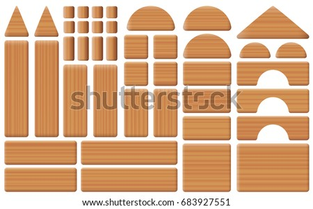 Wooden toy blocks - collection of building bricks, pillars, arch and roof elements - all parts with wooden texture. Isolated vector illustration on white background.