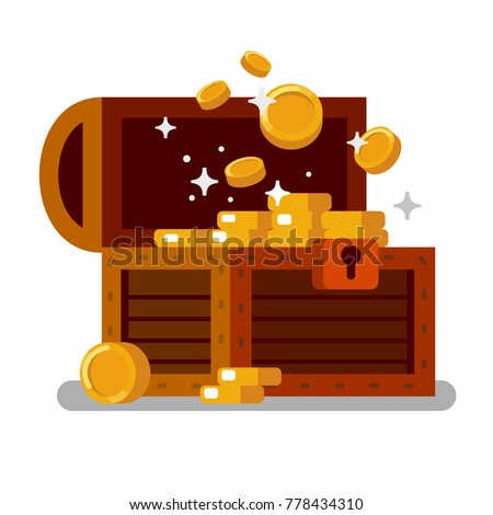 Wooden treasure chest full of golden coins. Flat vector