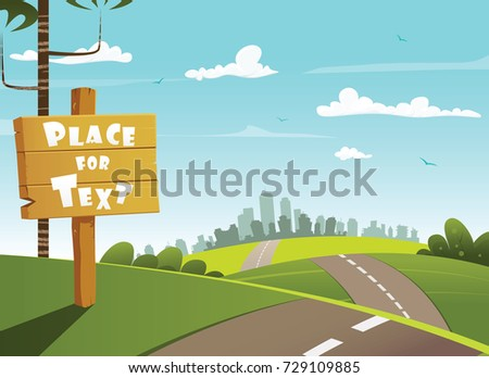 Wooden village sign and city in the distance on the horizon. Easy to edit. Layered